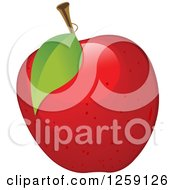Clipart Of A Red Apple With A Leaf Royalty Free Vector Illustration
