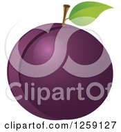 Clipart Of A Plum With A Leaf Royalty Free Vector Illustration by Pushkin
