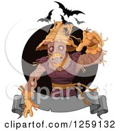 Clipart Of A Spooky Scarecrow Reaching Over A Banner With Bats Royalty Free Vector Illustration