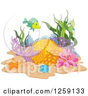 Clipart Of A Coral Reef With A Fish And Seahorse Royalty Free Vector Illustration by Pushkin