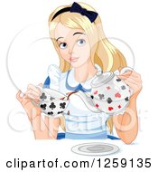 Clipart Of Alice Pouring Tea Royalty Free Vector Illustration by Pushkin