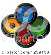 Clipart Of Colorful Music Speakers Royalty Free Vector Illustration