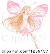 Clipart Of A Blond Haired Pink Fairy Flying Royalty Free Vector Illustration