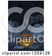 Clipart Of A Halloween Jackolantern Pumpkin With A Wtich Hat In A Cemetery Royalty Free Vector Illustration
