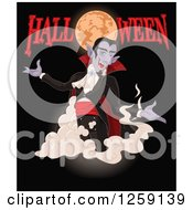 Clipart Of A Vampire Dracula Appearing Under A Full Moon With Halloween Text On Black Royalty Free Vector Illustration by Pushkin