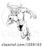 Clipart Of A Black And White Muscular Bull Man Mascot Running Upright Royalty Free Vector Illustration
