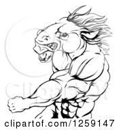 Clipart Of A Black And White Angry Muscular Horse Man Punching Royalty Free Vector Illustration