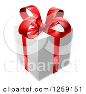 Clipart Of A 3d White Gift Box With A Red Bow Royalty Free Vector Illustration by AtStockIllustration