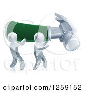 Clipart Of 3d Silver Men Carrying A Giant Hammer Royalty Free Vector Illustration