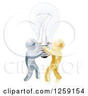 Clipart Of 3d Gold And Silver Men Carrying A Light Bulb Royalty Free Vector Illustration