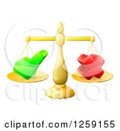 Clipart Of 3d Gold Scales Balancing A Check Mark And X Cross Royalty Free Vector Illustration by AtStockIllustration