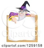 Clipart Of A Senior Wizard Pointing Down To A Posted Notice Sign On Wood Royalty Free Vector Illustration