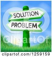 Clipart Of Problem And Solution Arrow Directional Signs Over Sunrise Royalty Free Vector Illustration by AtStockIllustration