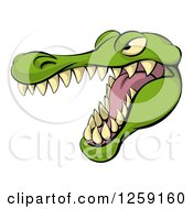 Clipart Of An Aggressive Snarling Alligator Mascot Head Royalty Free Vector Illustration