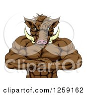 Clipart Of A Muscular Aggressive Boar Man Mascot Gesturing Bring It Royalty Free Vector Illustration