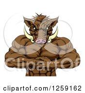 Muscular Aggressive Boar Man Mascot Gesturing Bring It