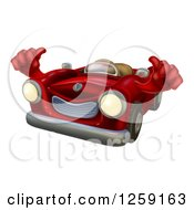 Clipart Of A Happy Red Car Holding Thumbs Up Royalty Free Vector Illustration