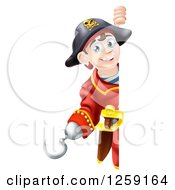 Clipart Of A Happy Young Pirate Captain Looking Around A Sign Royalty Free Vector Illustration by AtStockIllustration