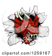 Clipart Of A Fierce Red Dragon Mascot Head Breaking Through A Wall Royalty Free Vector Illustration
