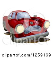 Clipart Of A Sad Broken Down Car Royalty Free Vector Illustration by AtStockIllustration