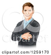 Clipart Of A Handsome Brunette Caucasian Businessman With Folded Arms Royalty Free Vector Illustration
