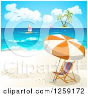 Clipart Of A Beach Chair And Umbrella With A View Of An Island And Sailboats Royalty Free Vector Illustration by merlinul