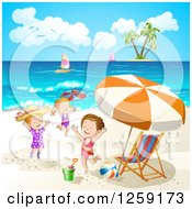 Clipart Of Caucasian Girls Jumping On A Beach Royalty Free Vector Illustration