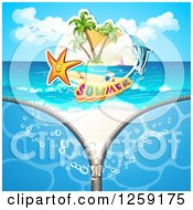 Clipart Of A Zipper Revealing A Starfish Summer Text And A Dolphin On A Beach Royalty Free Vector Illustration