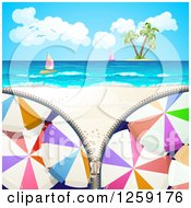 Clipart Of An Umbrella Zipper Revealing A Tropical Beach Island And Sailboats Royalty Free Vector Illustration