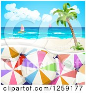 Clipart Of Umbrellas Under A Tropical Beach Island And Sailboats Royalty Free Vector Illustration