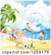 Clipart Of A Caucasian Children Surfing And Playing On A Beach Royalty Free Vector Illustration