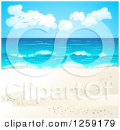 Clipart Of A Tropical Beach Background Royalty Free Vector Illustration by merlinul