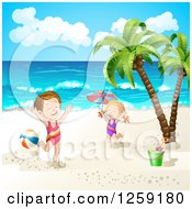 Clipart Of A Caucasian Girls Jumping On A Tropical Beach Royalty Free Vector Illustration