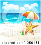 Clipart Of A Happy Starfish With An Umbrella On A Beach Royalty Free Vector Illustration