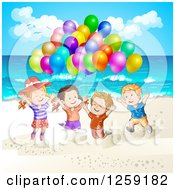 Clipart Of Excited Children Jumping With Balloons At The Beach Royalty Free Vector Illustration