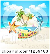 Clipart Of A Happy Starfish Summer Text And A Dolphin On A Beach Royalty Free Vector Illustration by merlinul