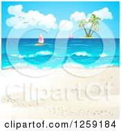Clipart Of A Tropical Beach Background With Sailboats And An Island Royalty Free Vector Illustration