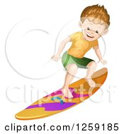 Clipart Of A Sporty White Surfer Boy Royalty Free Vector Illustration