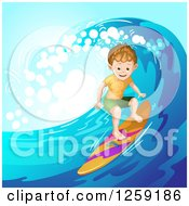 Clipart Of A Sporty White Surfer Boy Riding A Wave Royalty Free Vector Illustration by merlinul