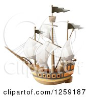 Clipart Of A Ship With Black Flags Royalty Free Vector Illustration by merlinul