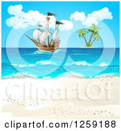 Clipart Of A Ship Out At Sea Near An Island And Beach Royalty Free Vector Illustration by merlinul