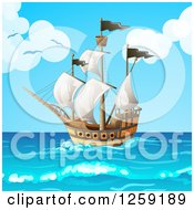 Clipart Of A Ship Out At Sea Royalty Free Vector Illustration