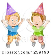 Clipart Of Excited Caucasian Boys Wearing Party Hats And Jumping Royalty Free Vector Illustration