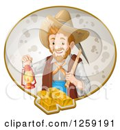 Happy Male Prospector With A Pickaxe And Lantern Over Gold Bars
