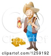 Happy Male Prospector Standing With A Pickaxe And Lantern Over Gold Bars