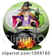 Clipart Of An Evil Witch Mixing A Spell In A Cauldron Over A Haunted House Royalty Free Vector Illustration