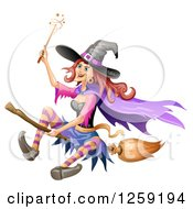 Clipart Of A Flying Evil Witch Royalty Free Vector Illustration