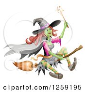 Clipart Of A Flying Evil Green Witch Royalty Free Vector Illustration