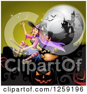 Clipart Of A Flying Evil Witch Over A Full Moon Jackolanterns Bats And Haunted Mansion Royalty Free Vector Illustration