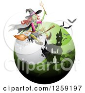 Clipart Of A Flying Evil Green Witch Over A Full Moon Bats And Haunted Mansion Royalty Free Vector Illustration by merlinul